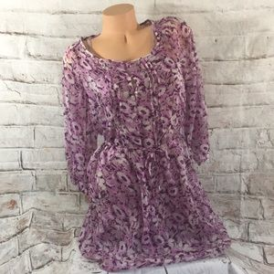 Old Navy Dress Purple Floral Sheer Lined Lace Sz S